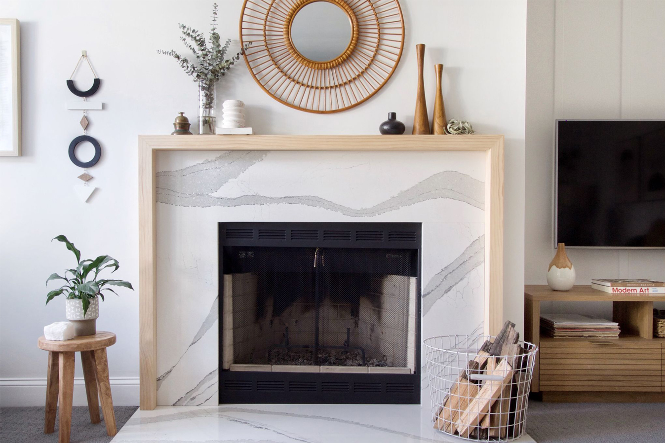 Fireplace featuring Cambria Brittanicca